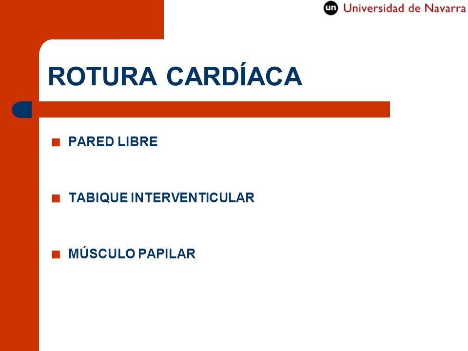 ROTURA CARDÍACA PARED LIBRE TABIQUE INTERVENTICULAR MÚSCULO PAPILAR