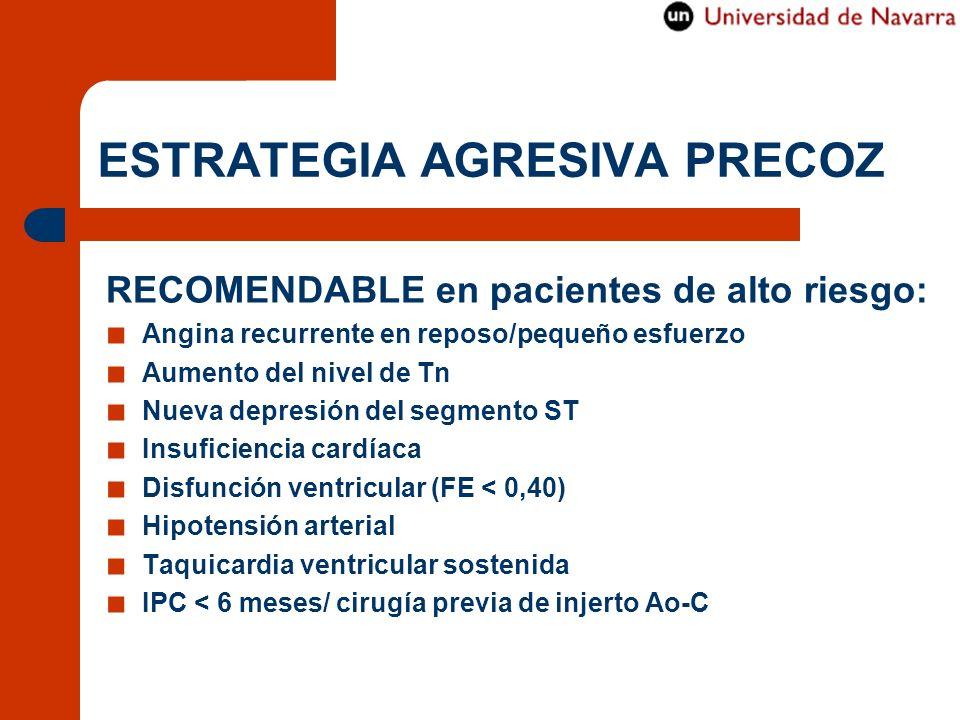 ESTRATEGIA AGRESIVA PRECOZ RECOMENDABLE en pacientes de alto riesgo: Angina recurrente en reposo/pequeño esfuerzo Aumento del nivel de Tn Nueva depres