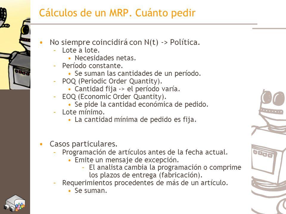 Cálculos de un MRP. Cuánto pedir No siempre coincidirá con N(t) -> Política. –Lote a lote. Necesidades netas. –Período constante. Se suman las cantida