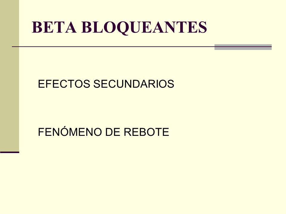 EFECTOS SECUNDARIOS FENÓMENO DE REBOTE BETA BLOQUEANTES