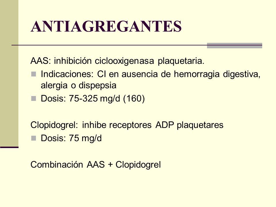 ANTIAGREGANTES AAS: inhibición ciclooxigenasa plaquetaria. Indicaciones: CI en ausencia de hemorragia digestiva, alergia o dispepsia Dosis: 75-325 mg/