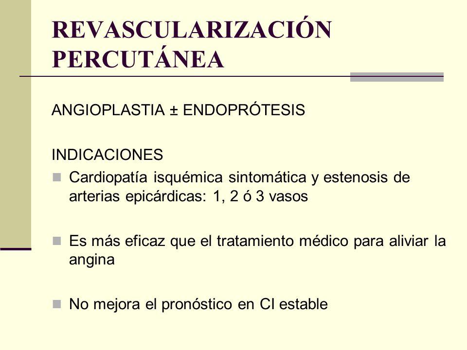REVASCULARIZACIÓN PERCUTÁNEA ANGIOPLASTIA ± ENDOPRÓTESIS INDICACIONES Cardiopatía isquémica sintomática y estenosis de arterias epicárdicas: 1, 2 ó 3