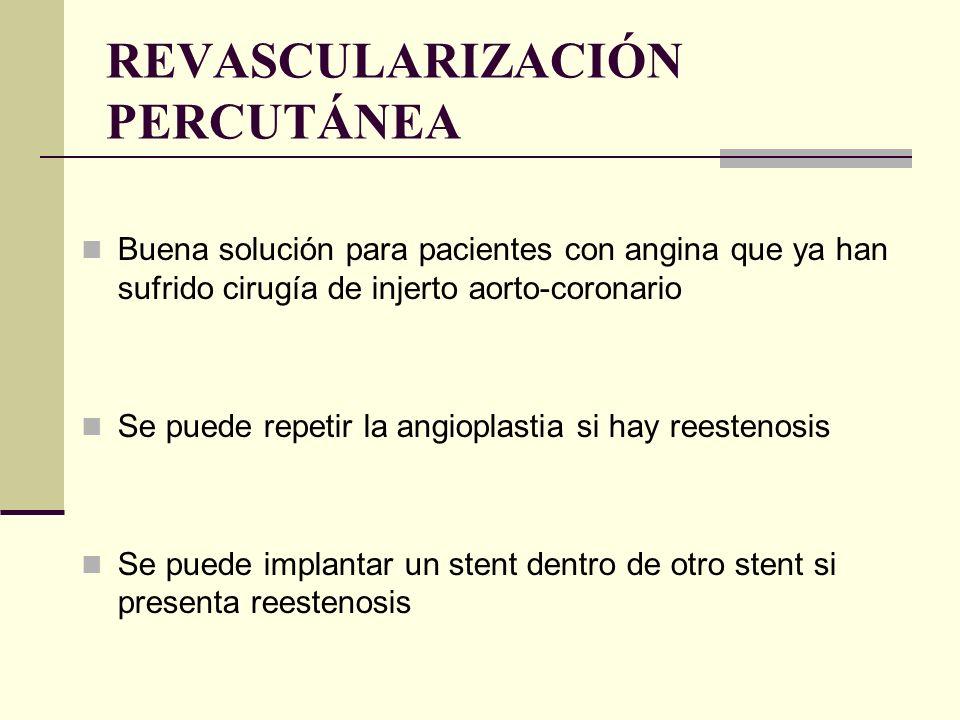 Buena solución para pacientes con angina que ya han sufrido cirugía de injerto aorto-coronario Se puede repetir la angioplastia si hay reestenosis Se