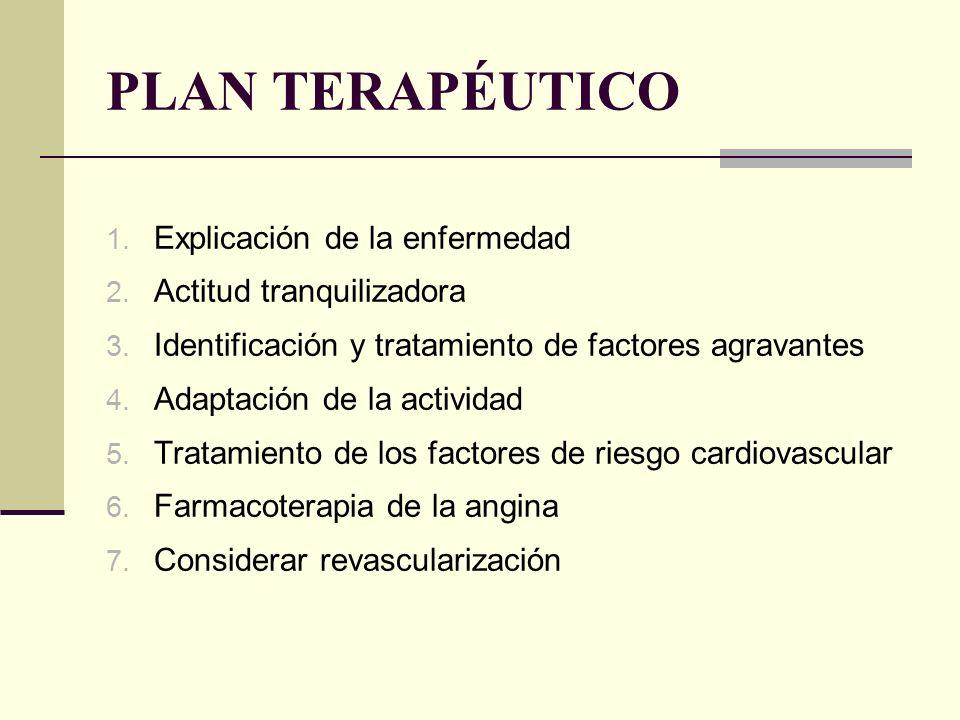 PLAN TERAPÉUTICO 1. Explicación de la enfermedad 2. Actitud tranquilizadora 3. Identificación y tratamiento de factores agravantes 4. Adaptación de la