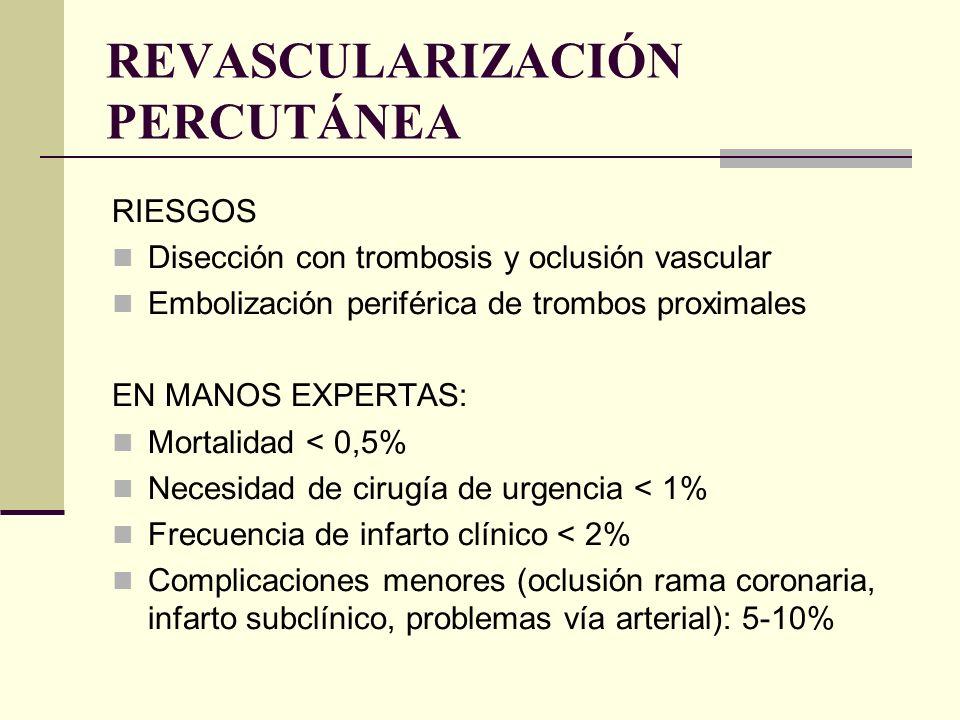 RIESGOS Disección con trombosis y oclusión vascular Embolización periférica de trombos proximales EN MANOS EXPERTAS: Mortalidad < 0,5% Necesidad de ci