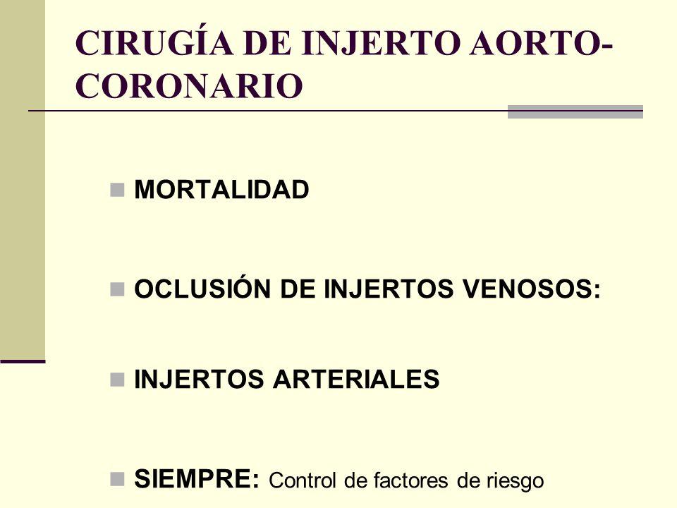 CIRUGÍA DE INJERTO AORTO- CORONARIO MORTALIDAD OCLUSIÓN DE INJERTOS VENOSOS: INJERTOS ARTERIALES SIEMPRE: Control de factores de riesgo