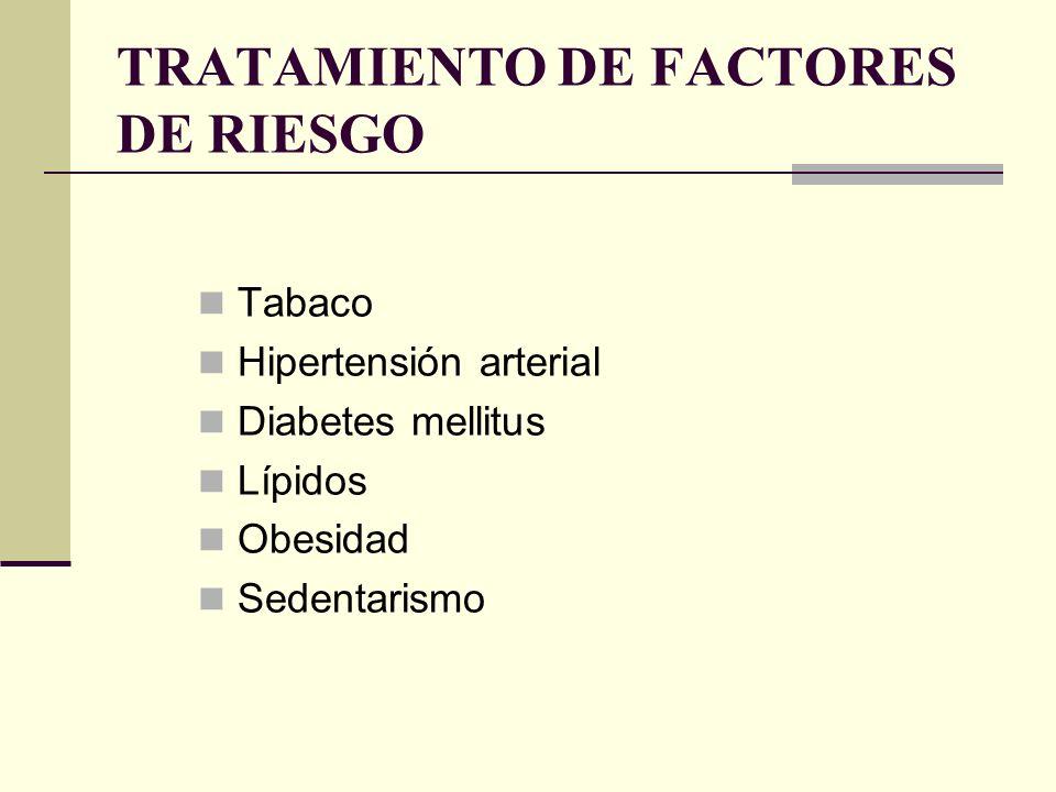 REVASCULARIZACIÓN PERCUTÁNEA ANGIOPLASTIA ± ENDOPRÓTESIS INDICACIONES Cardiopatía isquémica sintomática y estenosis de arterias epicárdicas: 1, 2 ó 3 vasos Es más eficaz que el tratamiento médico para aliviar la angina No mejora el pronóstico en CI estable