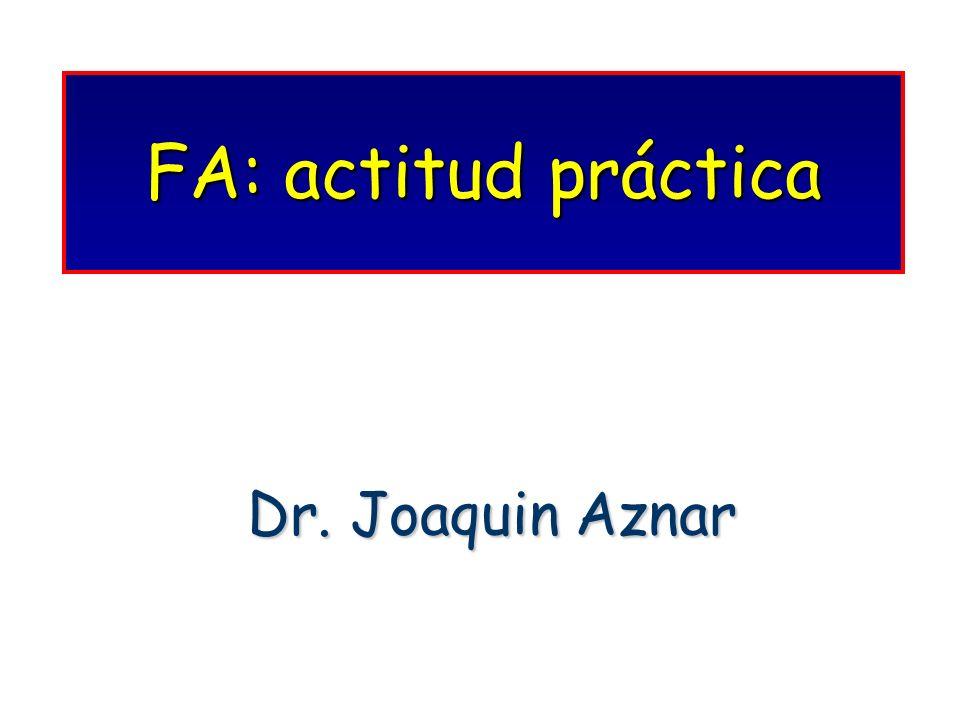 INFRAUTILIZACIÓN DEL TRATAMIENTO ANTICOAGULANTE EN LA FA NO REUMÁTICA Pacientes Años de Pacientes Años de anticoagulados (%) recogida de datos Stafford RS (24)32 1992-1993 Gottieb K (25)65.5 1990 Albers GW (26)41 1991-1994 Brass LM (27)34 1994 Gurwitz JH (28)32 1993-1995 Vazquez E (21)28.8 1995-1996 Falco V (22)39 1997-1998 Edad > 75-80 (miedo a hemorragias).Edad > 75-80 (miedo a hemorragias).