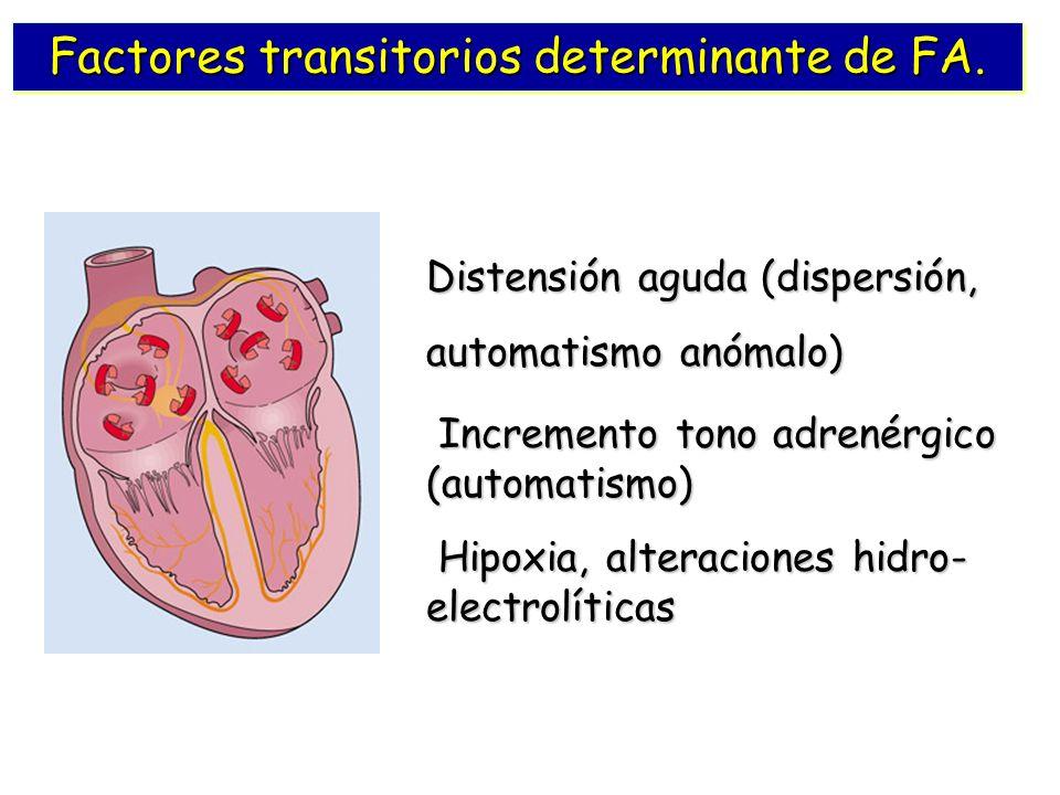 Factores transitorios determinante de FA. Distensión aguda (dispersión, automatismo anómalo) Incremento tono adrenérgico (automatismo) Incremento tono