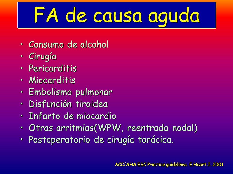 FA de causa aguda Consumo de alcoholConsumo de alcohol CirugíaCirugía PericarditisPericarditis MiocarditisMiocarditis Embolismo pulmonarEmbolismo pulm