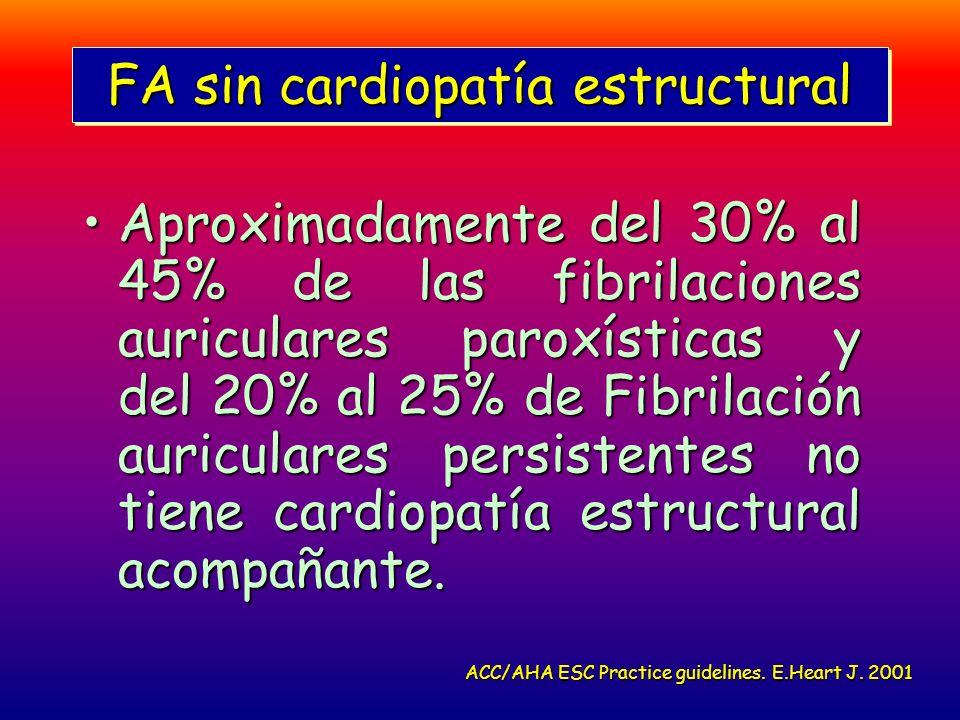 FA sin cardiopatía estructural Aproximadamente del 30% al 45% de las fibrilaciones auriculares paroxísticas y del 20% al 25% de Fibrilación auriculare