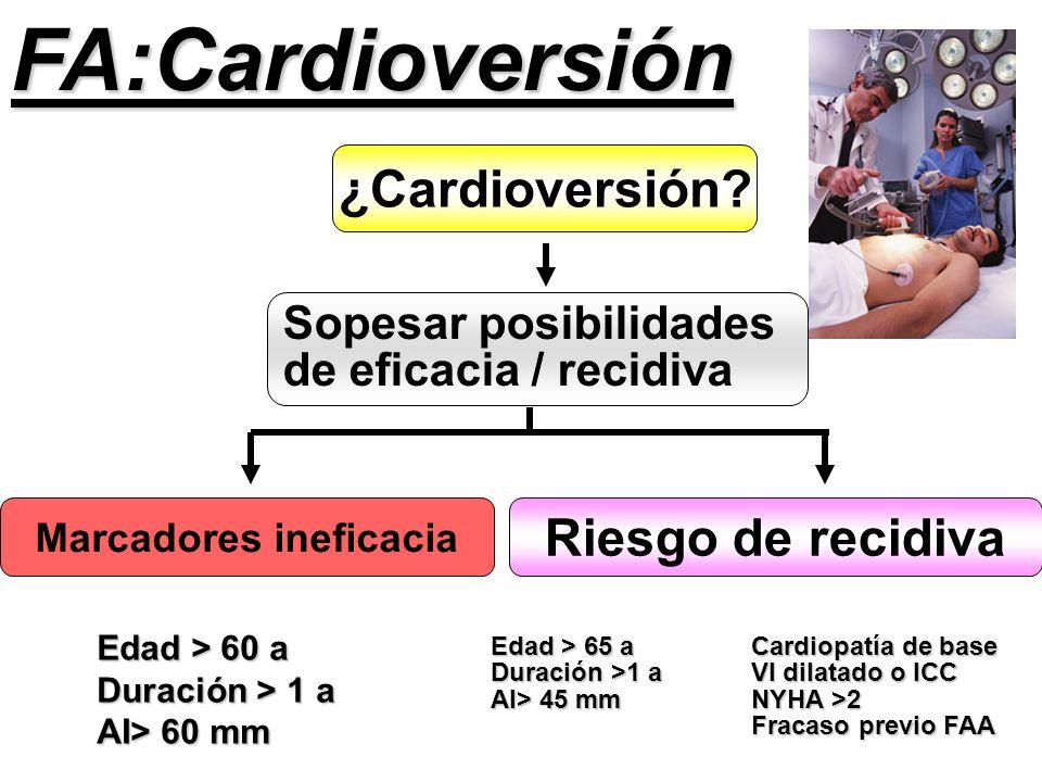 Riesgo de recidiva Marcadores ineficacia Sopesar posibilidades de eficacia / recidiva ¿Cardioversión? Edad > 60 a Duración > 1 a AI> 60 mm Edad > 65 a