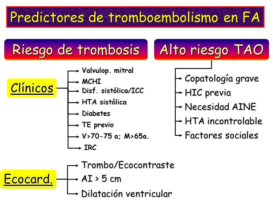 Riesgo de trombosis Alto riesgo TAO Predictores de tromboembolismo en FA Ecocard.Trombo/Ecocontraste AI > 5 cm Dilatación ventricular Copatología grav