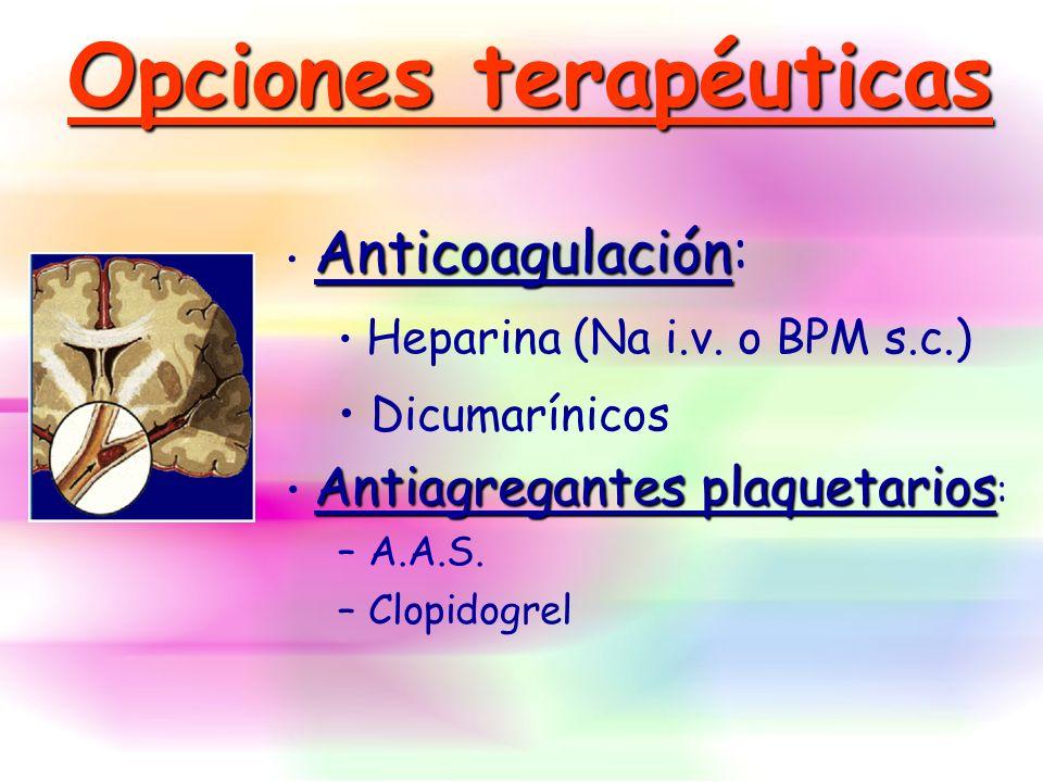 Anticoagulación Anticoagulación: Heparina (Na i.v. o BPM s.c.) Dicumarínicos Antiagregantes plaquetarios Antiagregantes plaquetarios : – A.A.S. – Clop
