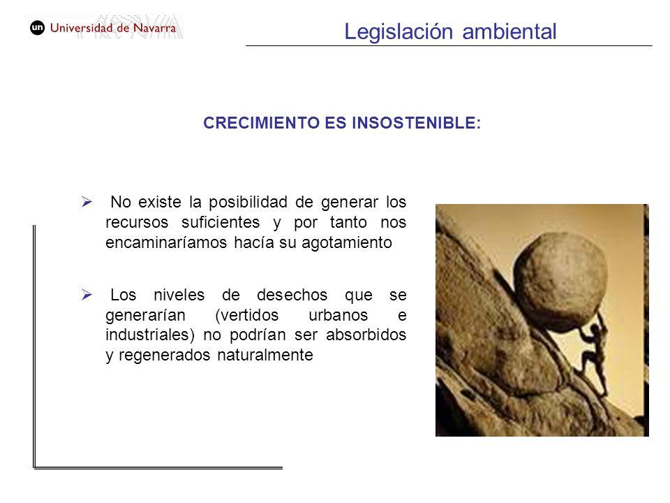 Legislación ambiental CRECIMIENTO ES INSOSTENIBLE: No existe la posibilidad de generar los recursos suficientes y por tanto nos encaminaríamos hacía s