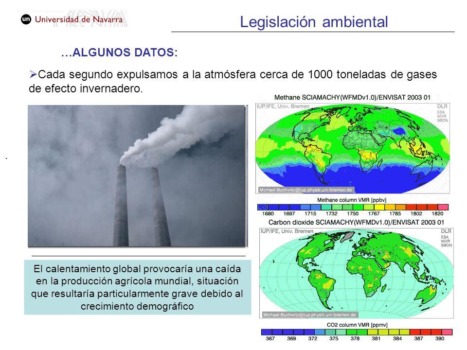 . …ALGUNOS DATOS: Cada segundo expulsamos a la atmósfera cerca de 1000 toneladas de gases de efecto invernadero. El calentamiento global provocaría un