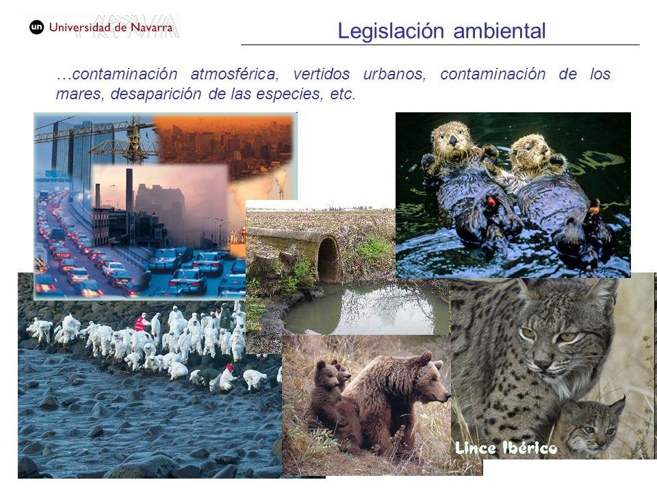Legislación ambiental …contaminación atmosférica, vertidos urbanos, contaminación de los mares, desaparición de las especies, etc.