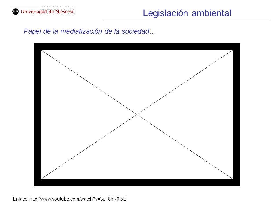 Legislación ambiental Papel de la mediatización de la sociedad… Enlace: http://www.youtube.com/watch?v=3u_8frR0IpE