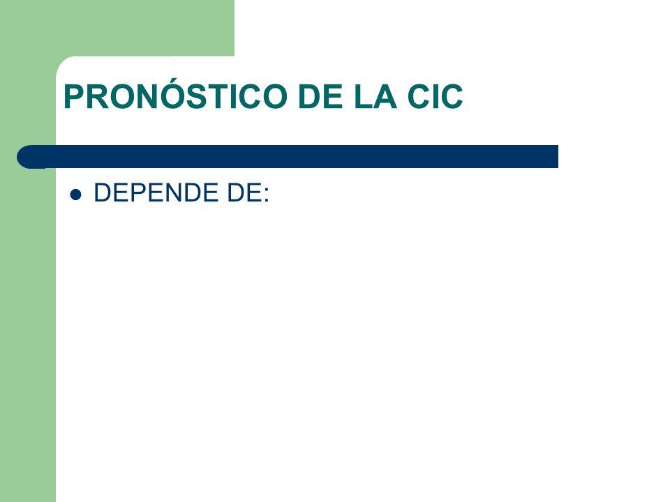 PRONÓSTICO DE LA CIC DEPENDE DE: