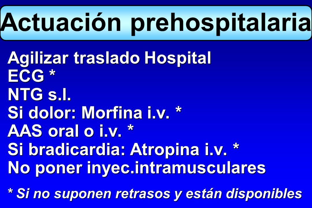Agilizar traslado Hospital Agilizar traslado Hospital ECG * ECG * NTG s.l. NTG s.l. Si dolor: Morfina i.v. * Si dolor: Morfina i.v. * AAS oral o i.v.