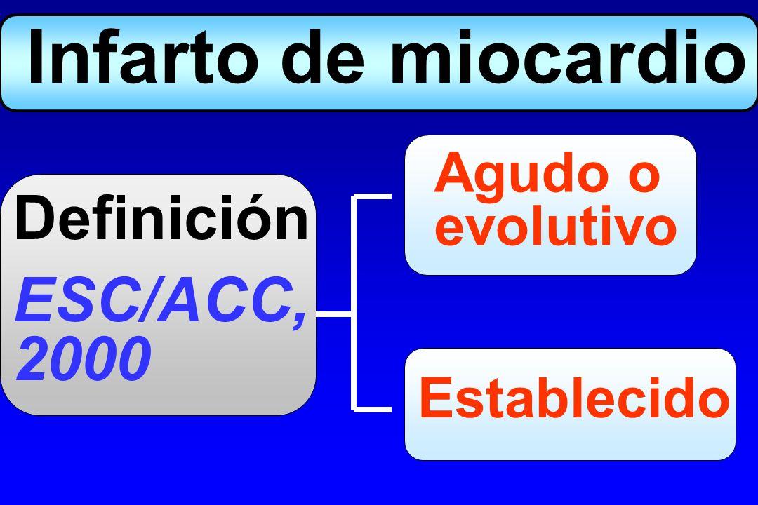 Agudo o evolutivo Hallazgos anatomopatológicos, o Elevación (y caída) marcadores + Síntomas típicos, o Aparición ondas Q, o Evolución ST típica, o Intervención endocoronaria Infarto de miocardio