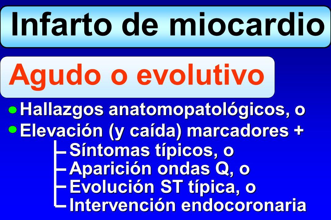 Hallazgos anatomopatológicos de IAM en fase de cicatrización o IAM en fase de cicatrización o cicatrizado, o cicatrizado, o Aparición nuevas ondas Q en ECG seriados ECG seriados Establecido