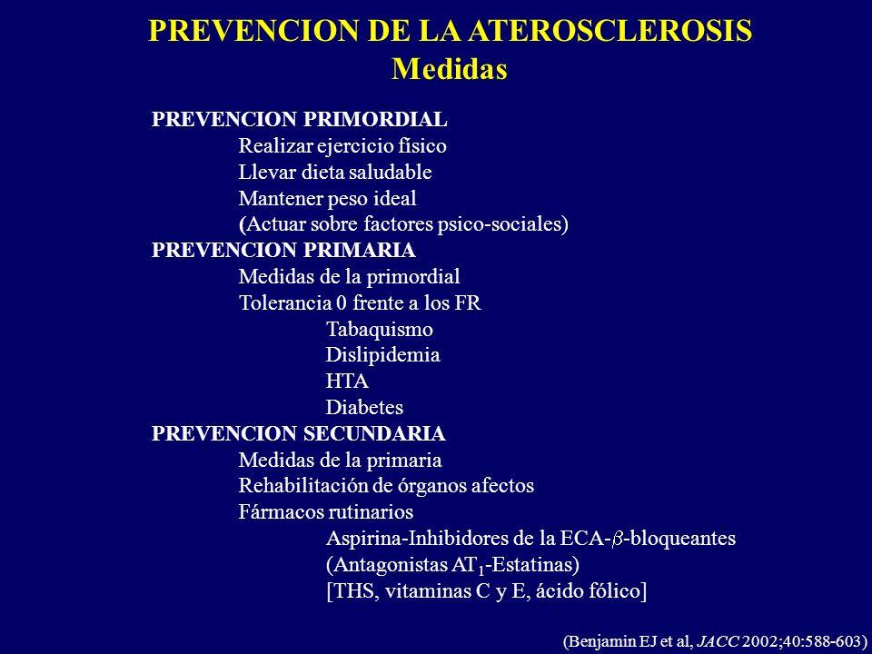 PREVENCION DE LA ATEROSCLEROSIS Medidas (Benjamin EJ et al, JACC 2002;40:588-603) PREVENCION PRIMORDIAL Realizar ejercicio físico Llevar dieta saludab