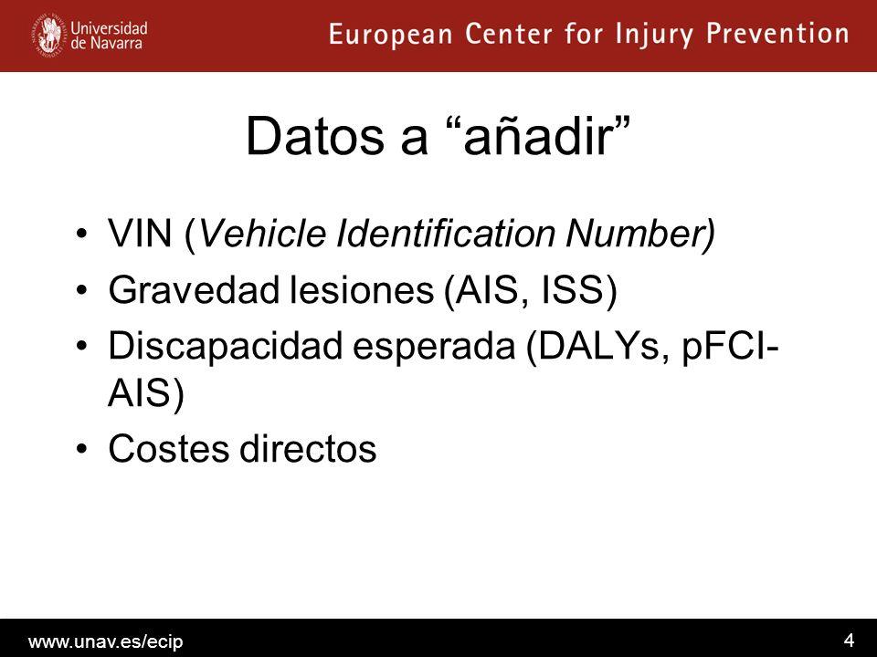 www.unav.es/ecip 4 Datos a añadir VIN (Vehicle Identification Number) Gravedad lesiones (AIS, ISS) Discapacidad esperada (DALYs, pFCI- AIS) Costes dir