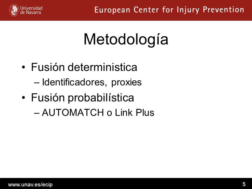 www.unav.es/ecip 5 Metodología Fusión deterministica –Identificadores, proxies Fusión probabilística –AUTOMATCH o Link Plus