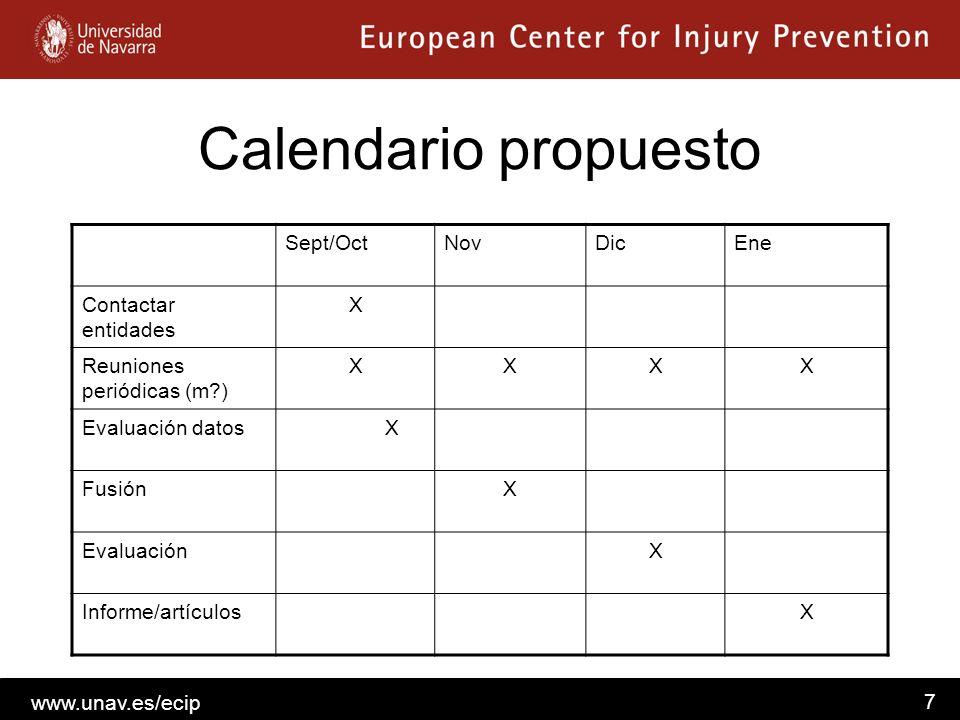 www.unav.es/ecip 7 Calendario propuesto Sept/OctNovDicEne Contactar entidades X Reuniones periódicas (m?) XXXX Evaluación datos X FusiónX EvaluaciónX