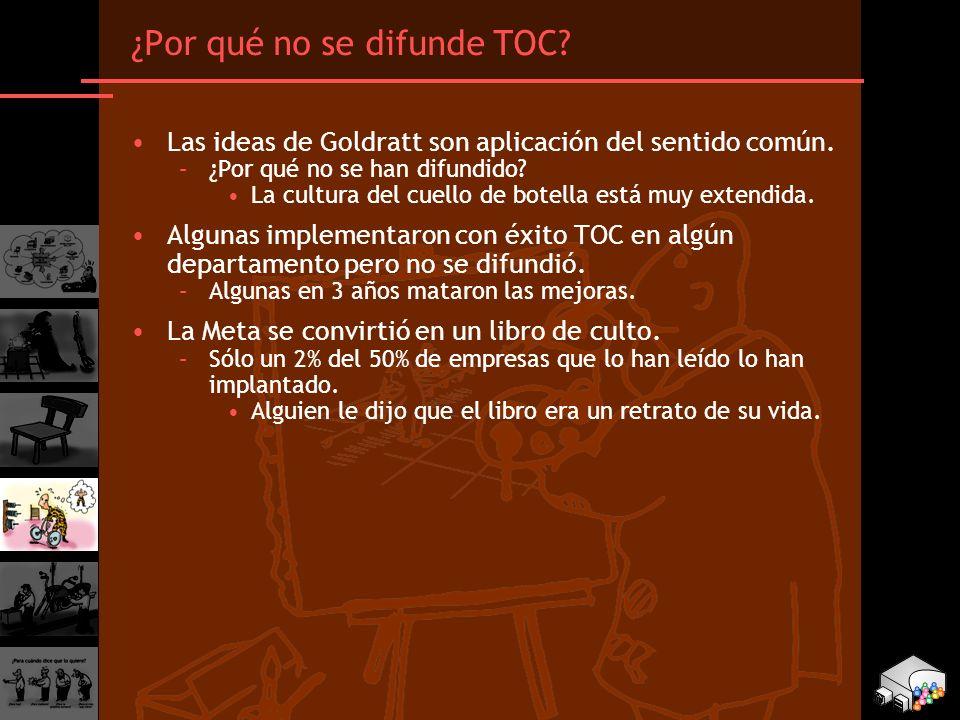 ¿Por qué no se difunde TOC? Las ideas de Goldratt son aplicación del sentido común. –¿Por qué no se han difundido? La cultura del cuello de botella es