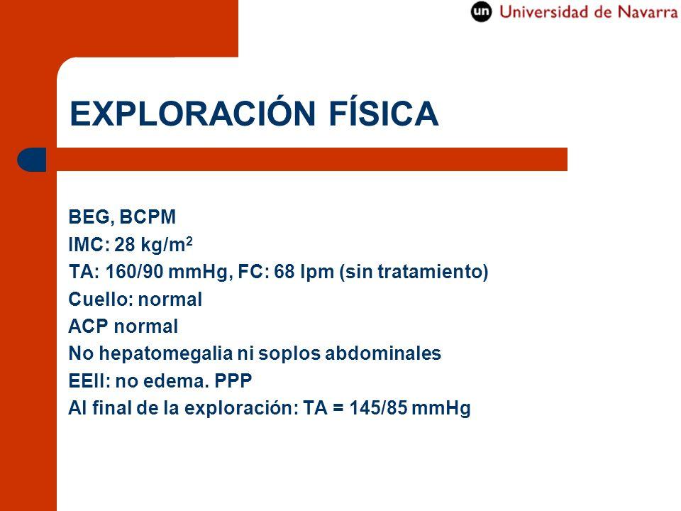 EXPLORACIÓN FÍSICA BEG, BCPM IMC: 28 kg/m 2 TA: 160/90 mmHg, FC: 68 lpm (sin tratamiento) Cuello: normal ACP normal No hepatomegalia ni soplos abdomin