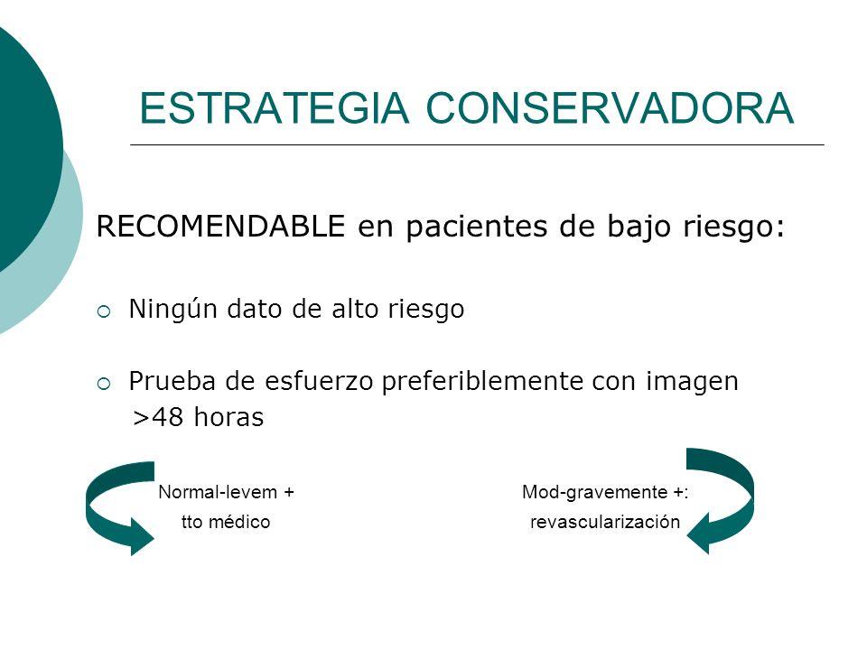 ESTRATEGIA CONSERVADORA RECOMENDABLE en pacientes de bajo riesgo: Ningún dato de alto riesgo Prueba de esfuerzo preferiblemente con imagen >48 horas N