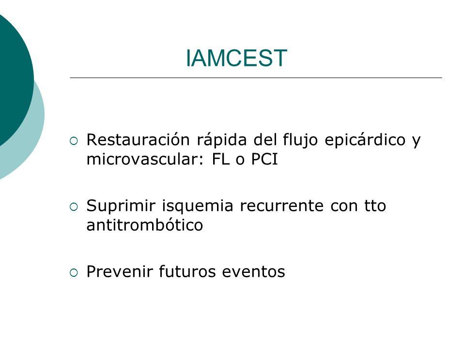 IAMCEST Restauración rápida del flujo epicárdico y microvascular: FL o PCI Suprimir isquemia recurrente con tto antitrombótico Prevenir futuros evento