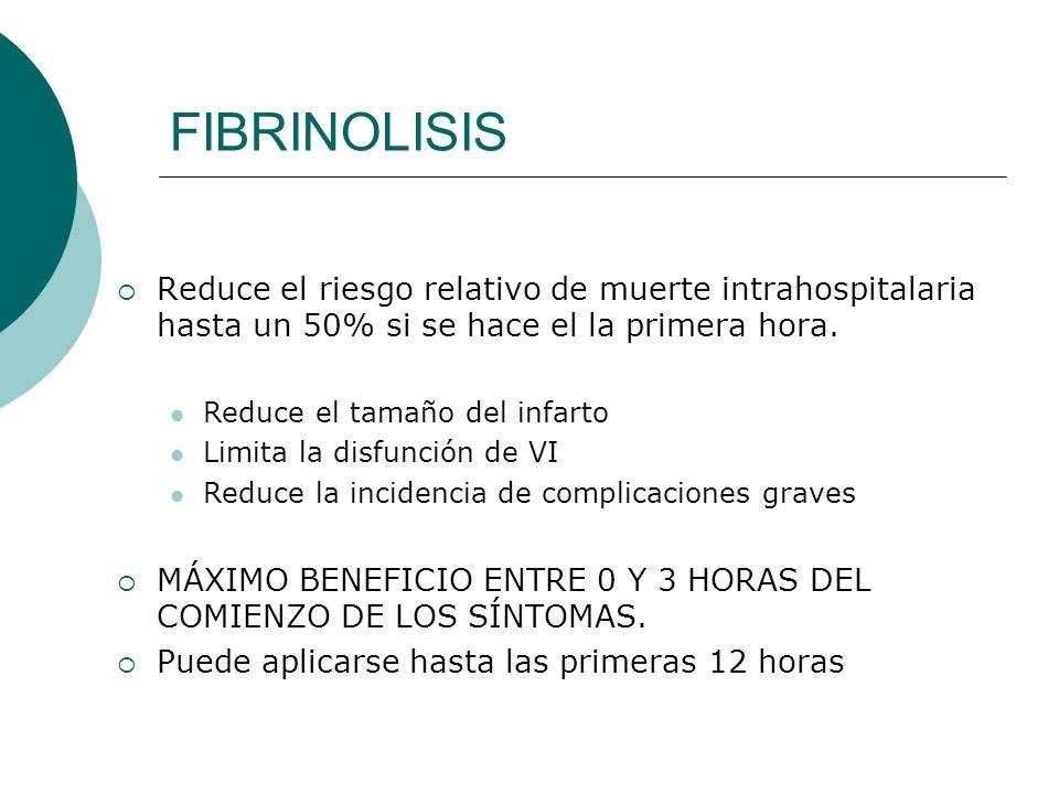 FIBRINOLISIS Reduce el riesgo relativo de muerte intrahospitalaria hasta un 50% si se hace el la primera hora. Reduce el tamaño del infarto Limita la