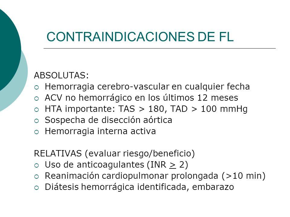 CONTRAINDICACIONES DE FL ABSOLUTAS: Hemorragia cerebro-vascular en cualquier fecha ACV no hemorrágico en los últimos 12 meses HTA importante: TAS > 18