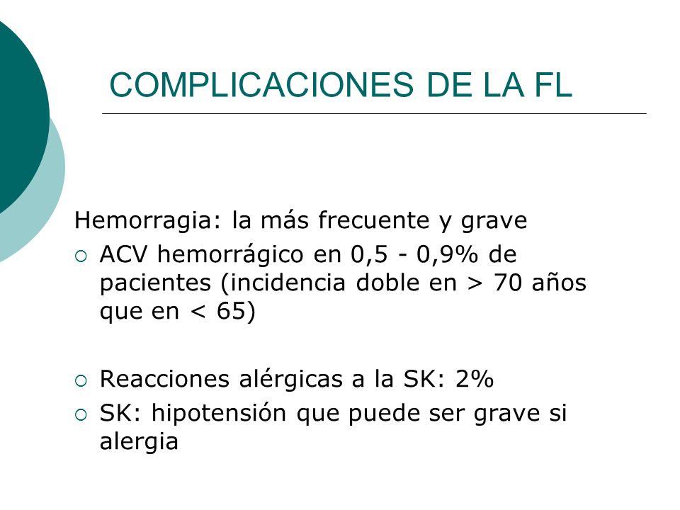 COMPLICACIONES DE LA FL Hemorragia: la más frecuente y grave ACV hemorrágico en 0,5 - 0,9% de pacientes (incidencia doble en > 70 años que en < 65) Re