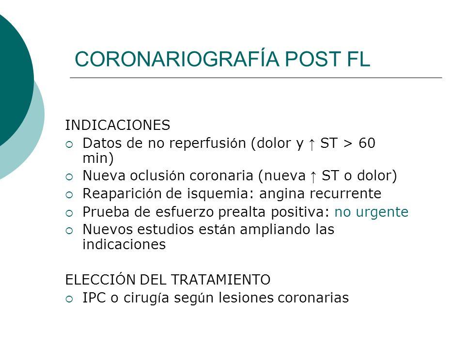 CORONARIOGRAFÍA POST FL INDICACIONES Datos de no reperfusi ó n (dolor y ST > 60 min) Nueva oclusi ó n coronaria (nueva ST o dolor) Reaparici ó n de is