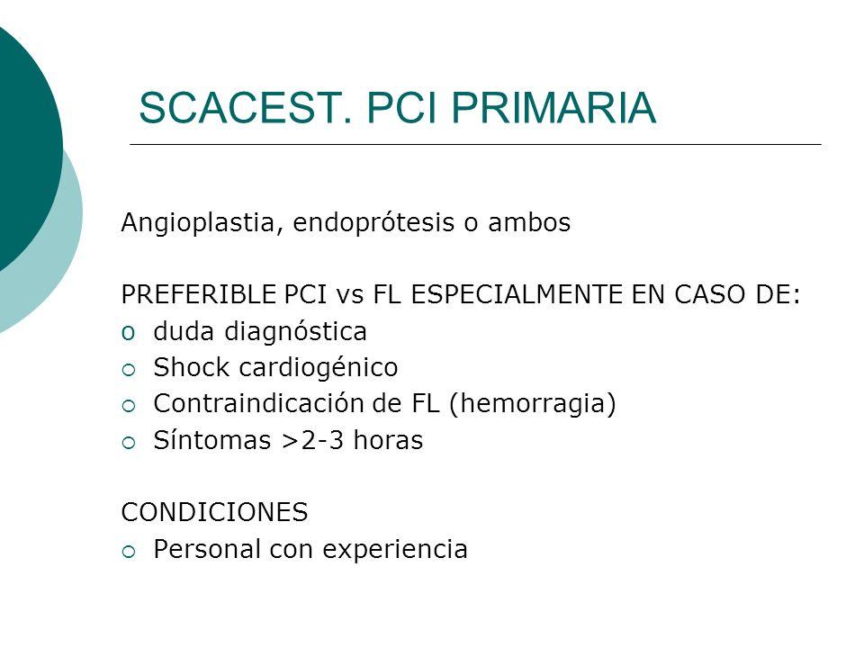 SCACEST. PCI PRIMARIA Angioplastia, endoprótesis o ambos PREFERIBLE PCI vs FL ESPECIALMENTE EN CASO DE: oduda diagnóstica Shock cardiogénico Contraind