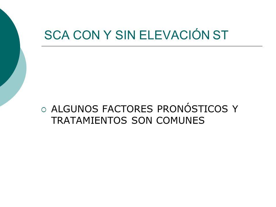 SCA CON Y SIN ELEVACIÓN ST ALGUNOS FACTORES PRONÓSTICOS Y TRATAMIENTOS SON COMUNES