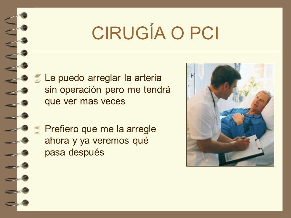 CIRUGÍA O PCI 4 Le puedo arreglar la arteria sin operación pero me tendrá que ver mas veces 4 Prefiero no volver a verle.