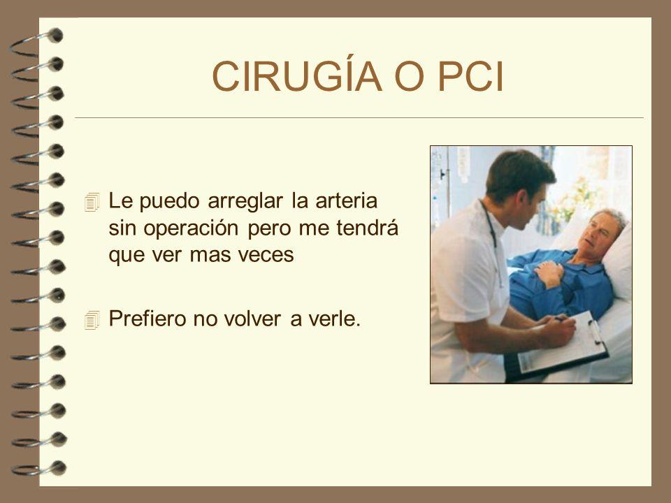 CIRUGÍA O PCI 4 Le puedo arreglar la arteria sin operación pero me tendrá que ver mas veces 4 ¿Qué haría usted en mi lugar?