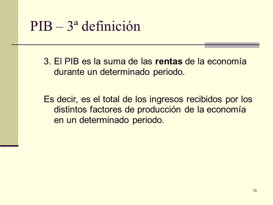 19 PIB – 3ª definición 3.El PIB es la suma de las rentas de la economía durante un determinado periodo.