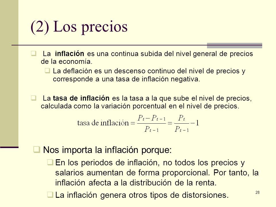 28 (2) Los precios La inflación es una continua subida del nivel general de precios de la economía.
