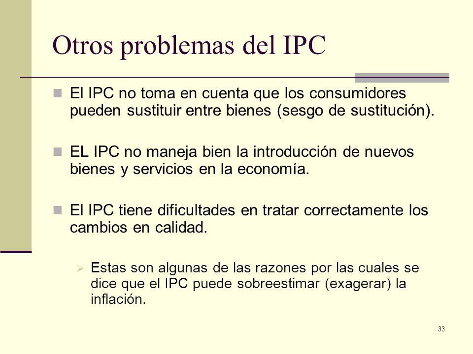 33 Otros problemas del IPC El IPC no toma en cuenta que los consumidores pueden sustituir entre bienes (sesgo de sustitución).