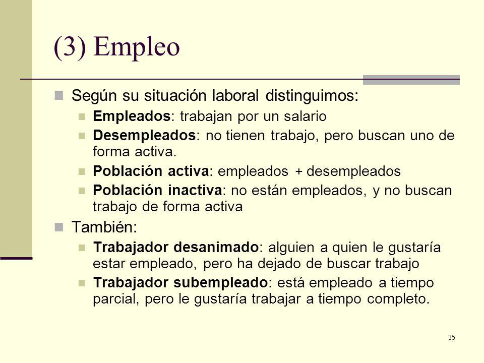 35 (3) Empleo Según su situación laboral distinguimos: Empleados: trabajan por un salario Desempleados: no tienen trabajo, pero buscan uno de forma activa.