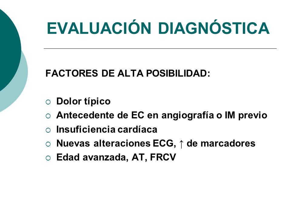 FACTORES DE ALTA POSIBILIDAD: Dolor típico Antecedente de EC en angiografía o IM previo Insuficiencia cardíaca Nuevas alteraciones ECG, de marcadores