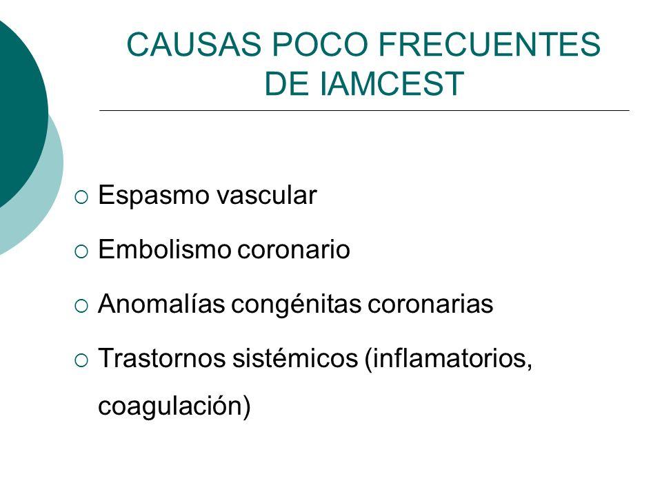 Espasmo vascular Embolismo coronario Anomalías congénitas coronarias Trastornos sistémicos (inflamatorios, coagulación) CAUSAS POCO FRECUENTES DE IAMC
