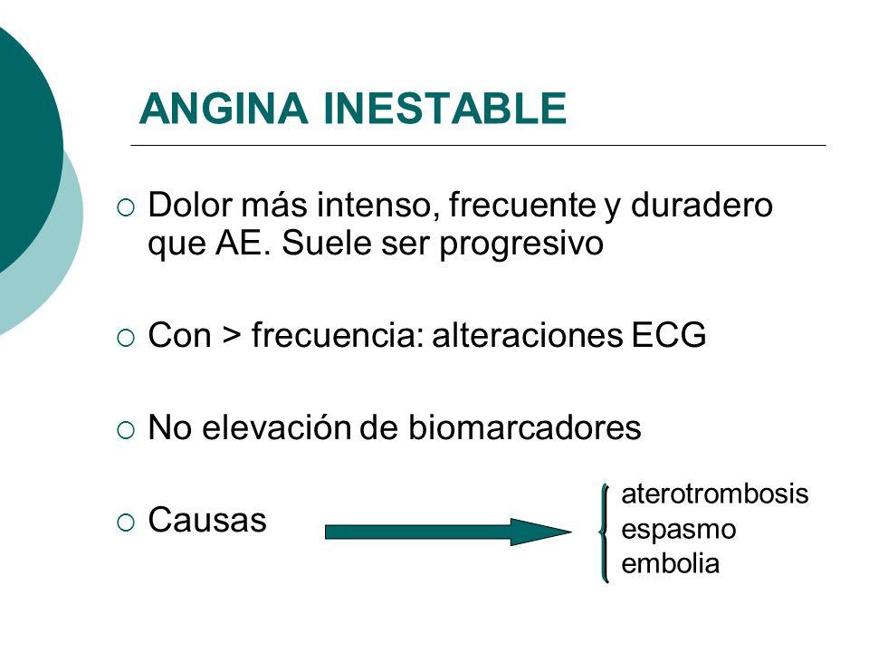 Espasmo vascular Embolismo coronario Anomalías congénitas coronarias Trastornos sistémicos (inflamatorios, coagulación) CAUSAS POCO FRECUENTES DE IAMCEST