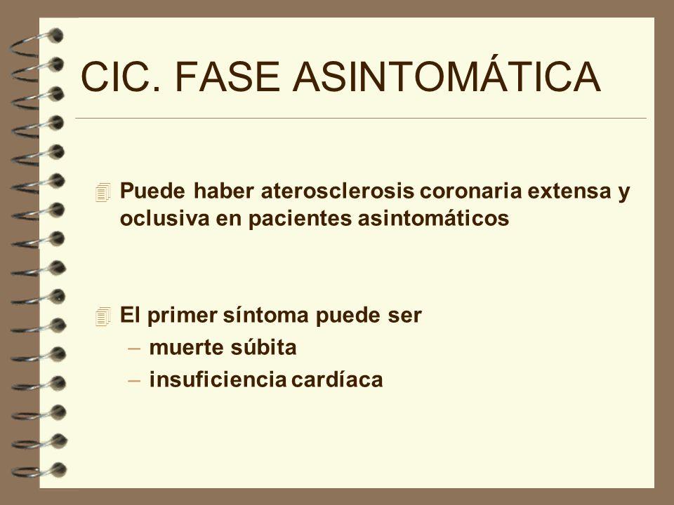 CIC. FASE ASINTOMÁTICA 4 Puede haber aterosclerosis coronaria extensa y oclusiva en pacientes asintomáticos 4 El primer síntoma puede ser –muerte súbi